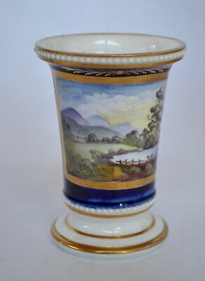 Early 19th Century English Porcelain Vase with Hand Painted Landscape