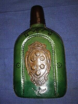 Antique Prohibition Whiskey Flask-Glass And Leather-Bakelite Cap-