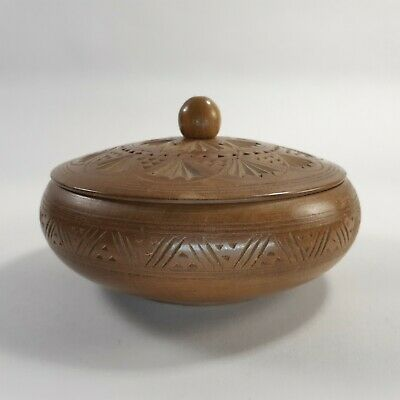 Vintage Hand Carved Round Ornate Wooden Bowl Trinket Dish with Lid