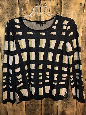 NEW Ann Taylor Geometric Sweater Top NWT Small S {Navy Blue • Pale Pink • Gold}