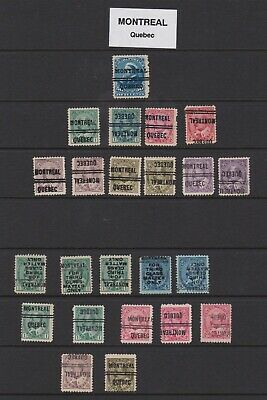 Pre cancel stamps Montreal. Regular and inverts.