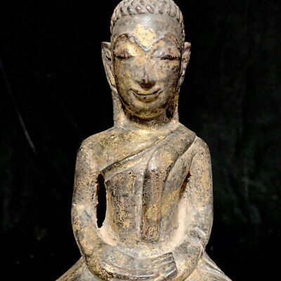 Southeast Asia lacquer and gilt Thai wooden seated buddha on throne 19th c