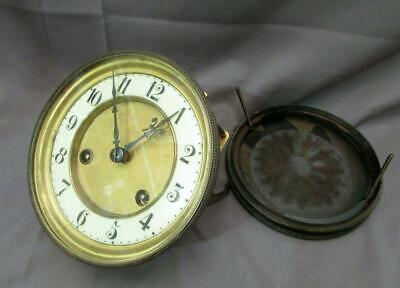 Antique Jungans Clock Movement, Dial, Glass and Back Plate for Parts or Repair