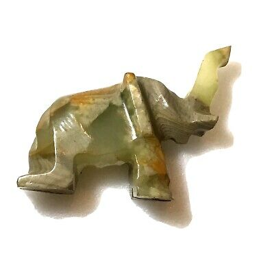 Vintage Stone Carved Elephant Figurine Paperweight 3 Inch