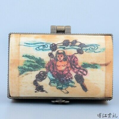 Collectable China Old 0x B0ne Hand-Carved Myth Figure Moral Auspicious Jewel Box
