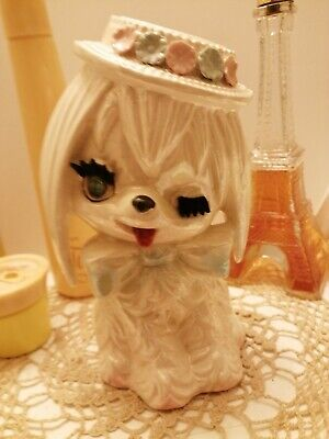 Vintage  Rare Lefton Maltese Winking Dog Bank Rhinestone Eye ADORABLE!