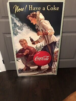Vintage, 1950 Coca Cola Cardboard Sign, Now! Have A Coke Double Sided, Advertisi