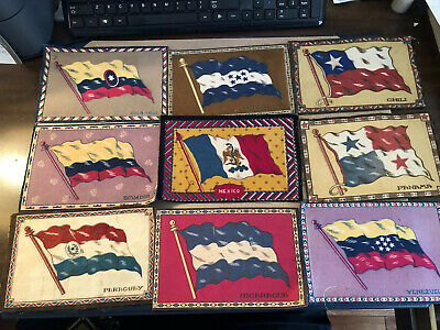 "1909-1911 Vintage Tobacco 9 Different 5 1/2 X .8.5"" Felt Country Flags Lot 12"
