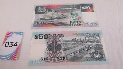2 Singapore $50 ship series notes 2 x fifty dollars lot 34   #34