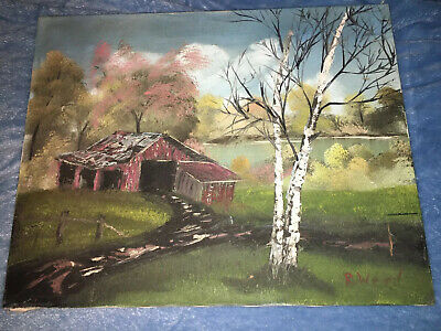 Signed R.Weed? Autumn Landscape Oil Painting On Canvas