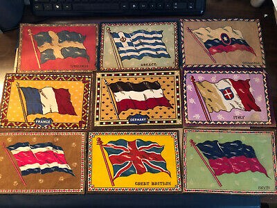 "1909-1911 Vintage Tobacco 9 Different 5 1/2 X .8.5"" Felt Country Flags Lot 5"
