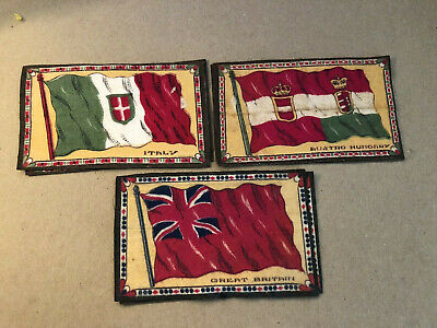 "1909-1911 Britain Italy Tobacco Felt Antique 3 Different 4"" X 6"" Country Flags"