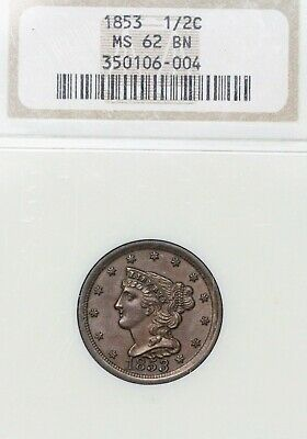1853 1/2C Braided Hair Half Cent Ngc Ms62 Bn Gorgeous Chocolate Brown Tough!!