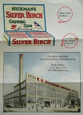 Hickman's Silver Birch Chewing Gum Sales Flyer Pittsburgh PA Factory VINTAGE HTF