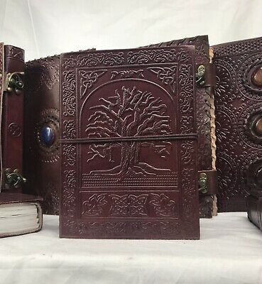 Hand Made Leather Bound Book/Journal Recycled Paper Tree of Life 18 x 13 cm