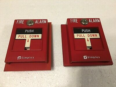 Lot of 2 Simplex 2099-9761 Addressable Fire Alarm Pull Stations