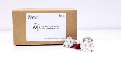The Miracle Meal | 100 Pre-filled Communion Cups with Juice & Wafer in box