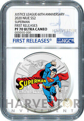 Justice League 60Th Anniversary - Superman - Silver Coin Ngc Pf70 First Release