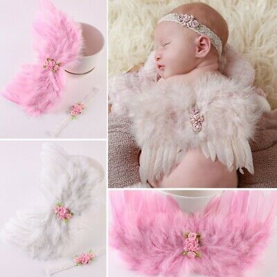 Baby Angel Wings + Headband Set Feather Flowers Photograph Props Outfits