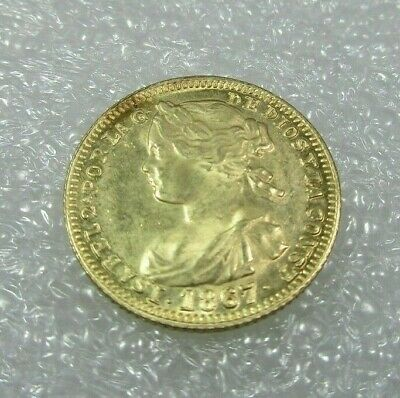 1867 Gold Spanish 4 Escudos Coin Isabel II - 3.1 Grams