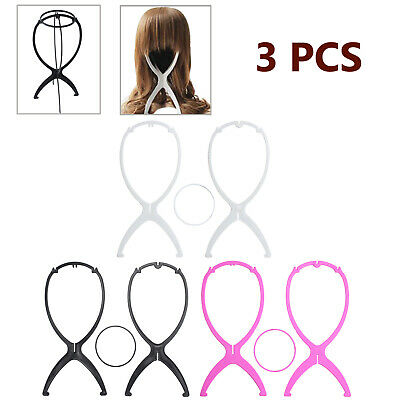 3X Plastic Folding Durable Stable Wig Hat Cap Hair Head Display Holder Stand AU