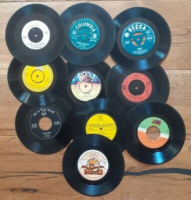 Job lot 10 x 7 inch Single Vinyl Records For Craft, Upcycling Projects Etc