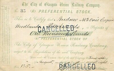 City of Glasgow Union Railway Co., 'A' preference consolidated stock, 1878