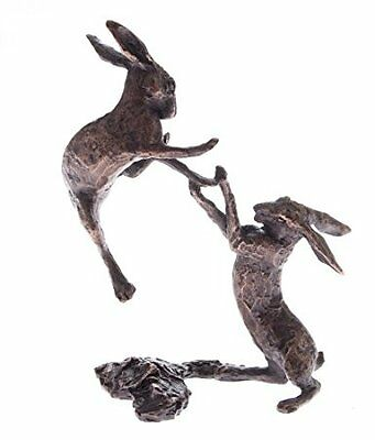 Butler & Peach Detailed Small Solid Bronze Boxing Hares