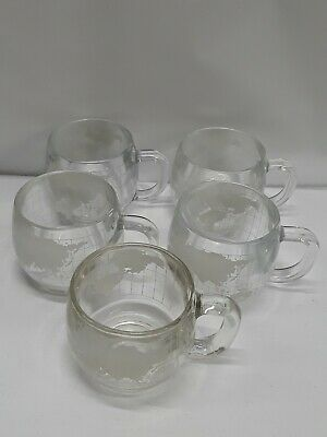 Vtg 1970 Lot of 5 Nestle World Map Glass Cup Coffee