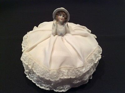 Vintage half doll pin cushion, white