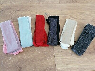 6 Pairs Of Fabulous Girls Fashion Glitter Tights. Age 10-11 Years
