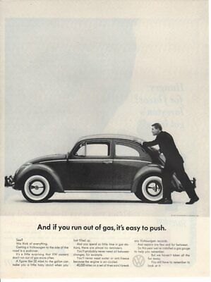 Vintage Print advertisement ad Car VW Volkswagen 1962 Bug Beetle Easy to Push ad