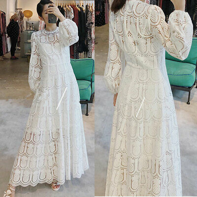Zimmermann White Hollow Water-Soluble Lace Lady Full Length Dress Holiday Dress
