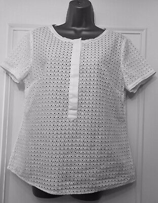 Autograph M&S White Broderie Anglaise Blouse Tip Tunic Cotton Uk 12 Worn Once
