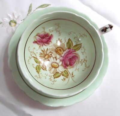 Paragon Teacup Wide Mouth Double Warrant Floral Pale Green Vintage G7662