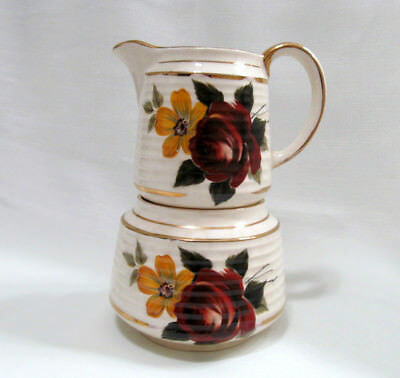 Sadler Cream and Sugar Set Deep Red Roses # 3487 England Vintage