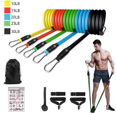 11PCS Resistance bands Set Workout with Handles Heavy Tube Exercise Fitness Gym