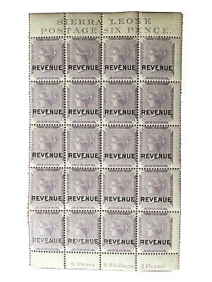 Sierra Leone Sc 1a , Victoria With Revenue , Inscription , Block MLH