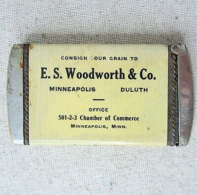 Antique Match Safe E S Woodworth Grain Match Holder  Minneapolis Minnesota VTG