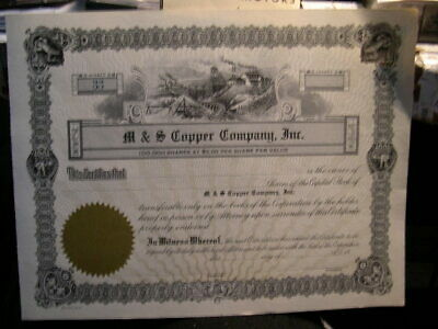M & S Copper Co., Inc., Unissued Stock Cert., Crisp, 1900's , Rare, Photo's