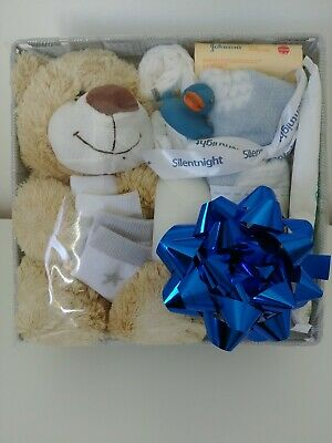 Newborn Baby Boys Gift Basket Hamper Shower Essentials Nappy Blanket Maternity