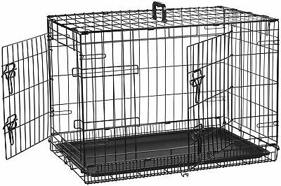 AmazonBasics Double-Door Folding Metal Dog Crate, Black, 30-inch