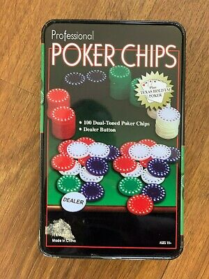 Professional Poker Chips 100 + Dealer Piece Set, All Chips Included