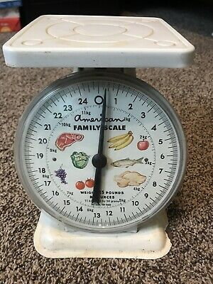 Vintage American Family Kitchen Scales Weighs Up To 25 Lbs Off White