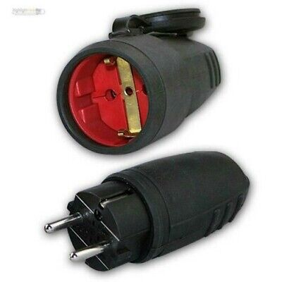 Couplers/Clutch Black IP44, 250V/16A Earth Contact Rubber Coupling Socket