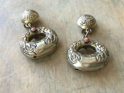 Fabulous antique chinese silver earrings with coral Qing Dynasty? clip on
