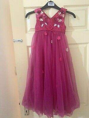 Monsoon Girls Age 5 Years Lily Floral Party Long Maxi Dress Fuschia Pink wedding