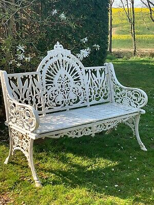 Antique victorian Colebrookdale Peacock Design cast iron garden bench