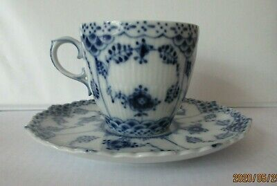 Royal Copenhagen Blue Fluted Full Lace Cup and Saucer I-1035 MINT