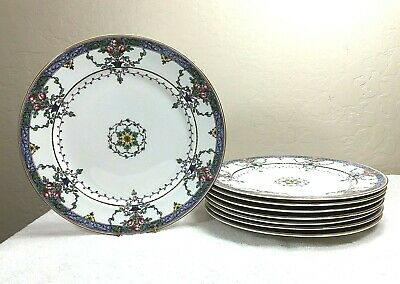 """8 Antique Royal Worcester Floral 10 ¼"""" Dinner Plates Hand-Painted 1915"""